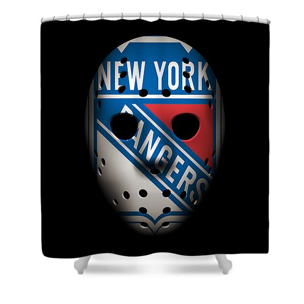Rangers Goalie Mask Shower Curtain