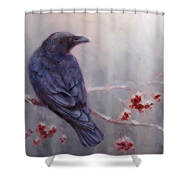 Raven In The Stillness - Black Bird Or Crow Resting In Winter Forest Shower Curtain
