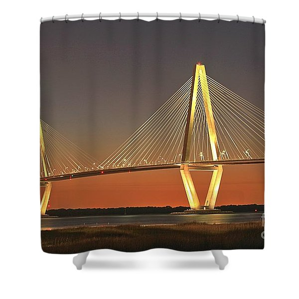 Ravenel Bridge At Dusk Shower Curtain