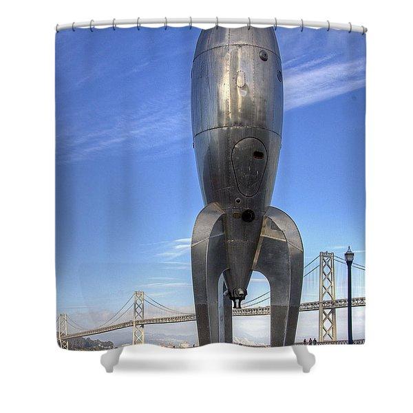 Raygun Gothic Rocketship Shower Curtain