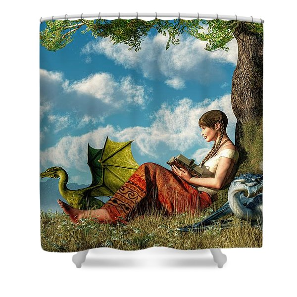 Reading About Dragons Shower Curtain