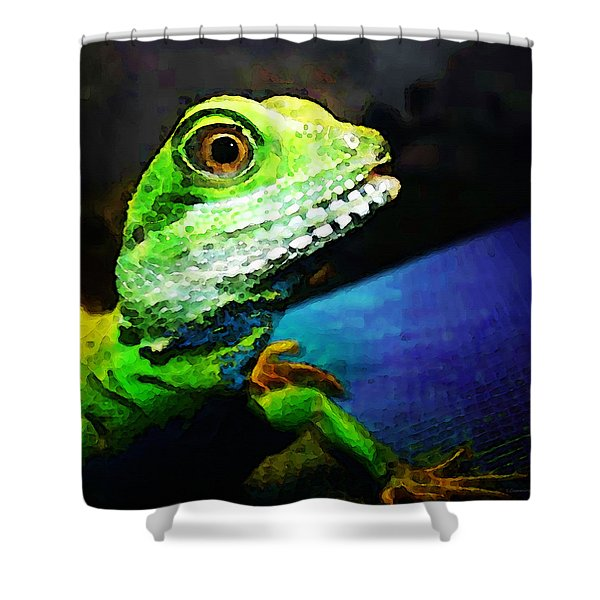 Ready To Leap - Lizard Art By Sharon Cummings Shower Curtain