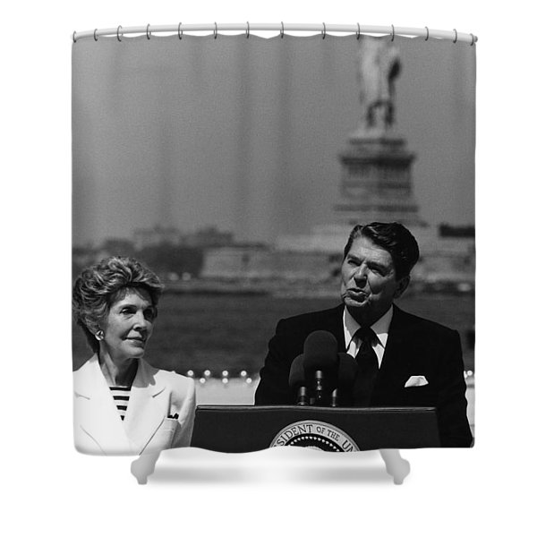 Reagan Speaking Before The Statue Of Liberty Shower Curtain
