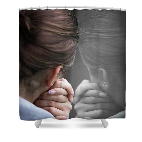 Rear View Of A Teenage Girl Leaning Shower Curtain
