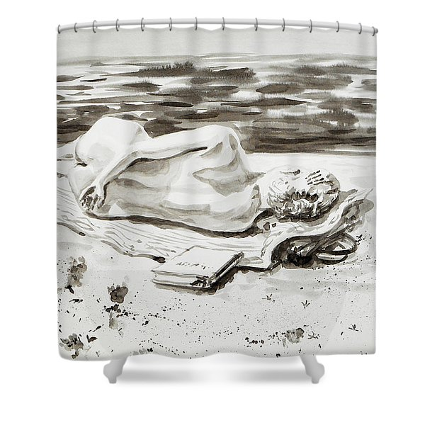 Reclining Nude Study Resting At The Beach Shower Curtain