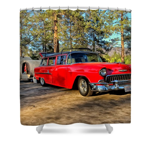 Red '55 Chevy Wagon Shower Curtain