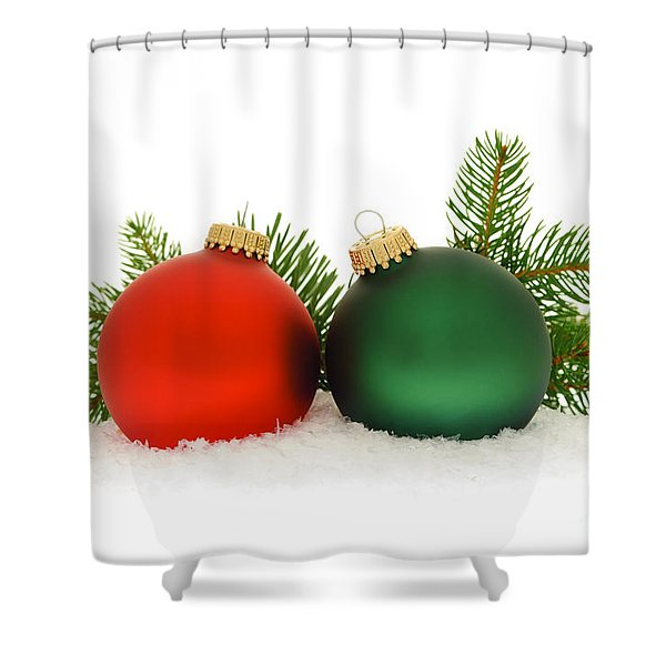 Red And Green Christmas Baubles Shower Curtain