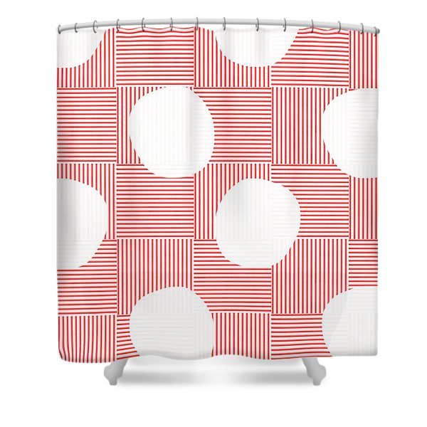 Red And White Poof  Shower Curtain