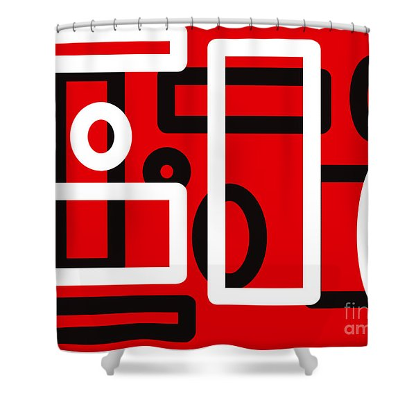 Red Back And White Design Shower Curtain