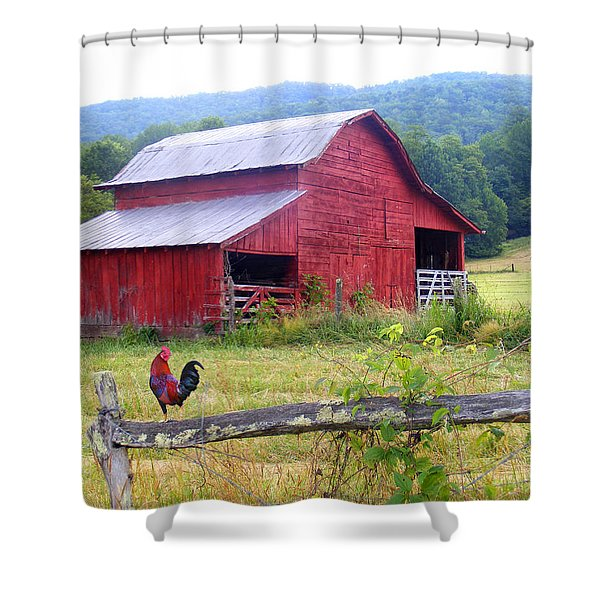 Red Barn And Rooster Shower Curtain