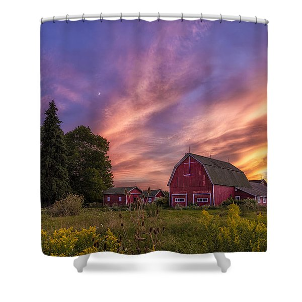 Red Barn Sunset 2 Shower Curtain
