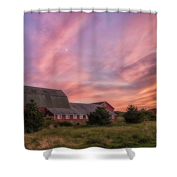 Red Barn Sunset Shower Curtain