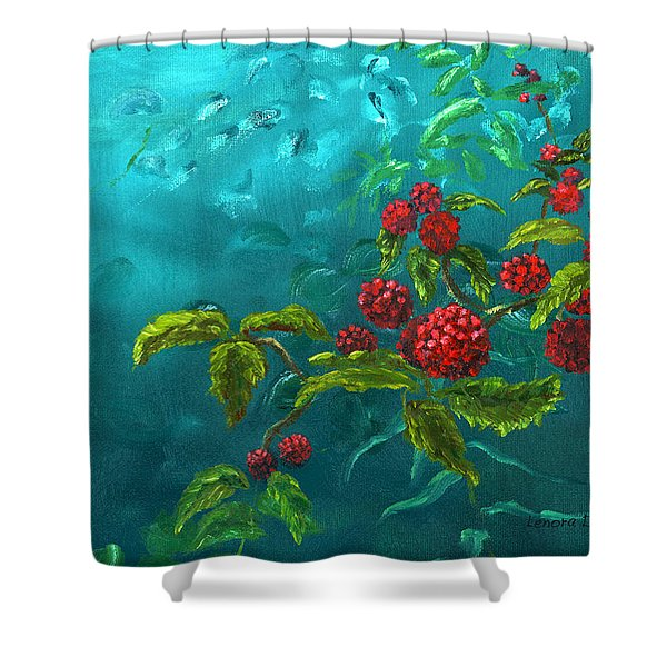 Red Berries In Blue Green Painting Shower Curtain