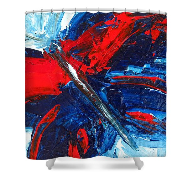Red Blue Butterfly Shower Curtain