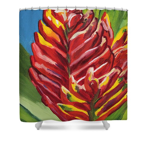 Red Bromeliad Shower Curtain