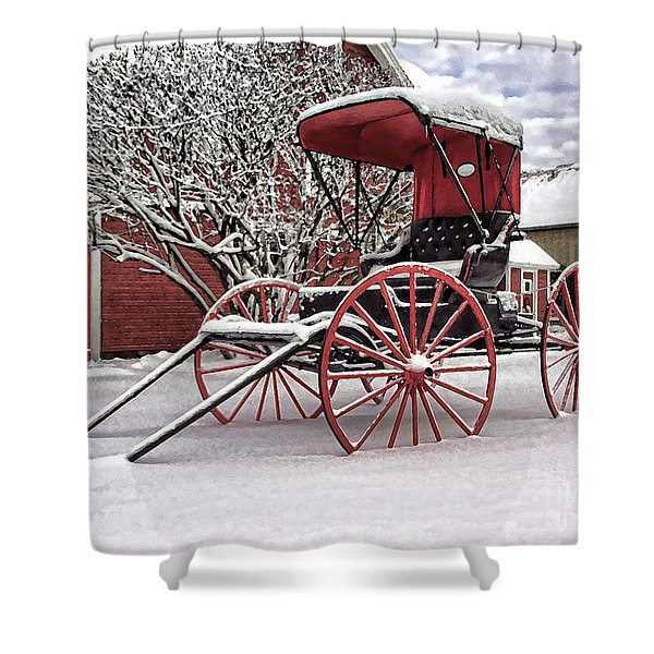 Red Buggy At Olmsted Falls - 1 Shower Curtain