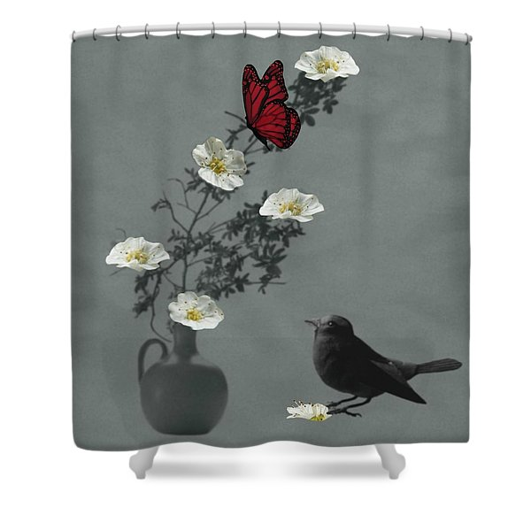 Red Butterfly In The Eyes Of The Blackbird Shower Curtain