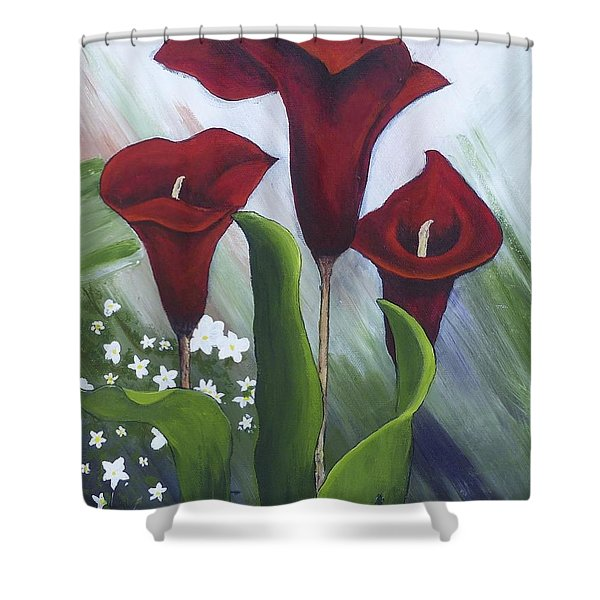 Red Calla Lilies Shower Curtain