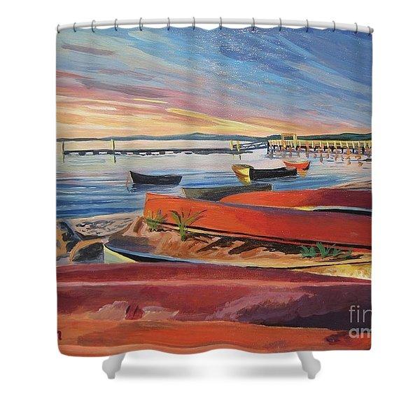 Red Canoe Sunset Shower Curtain