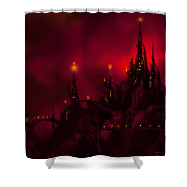 Red Castle Shower Curtain