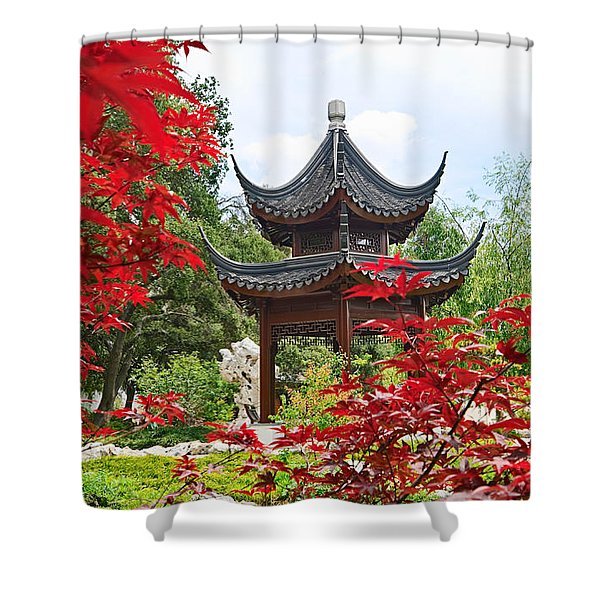 Red - Chinese Garden With Pagoda And Lake. Shower Curtain