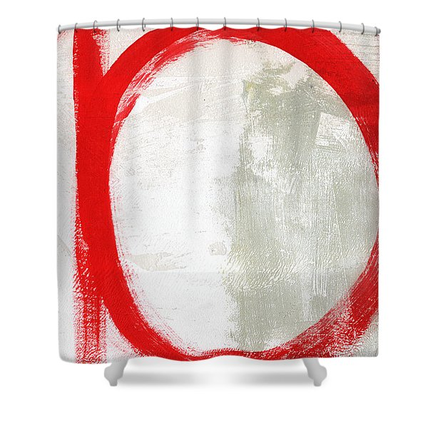 Red Circle 3- Abstract Painting Shower Curtain