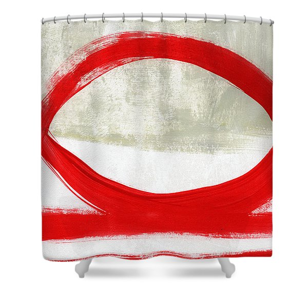 Red Circle 4- Abstract Painting Shower Curtain