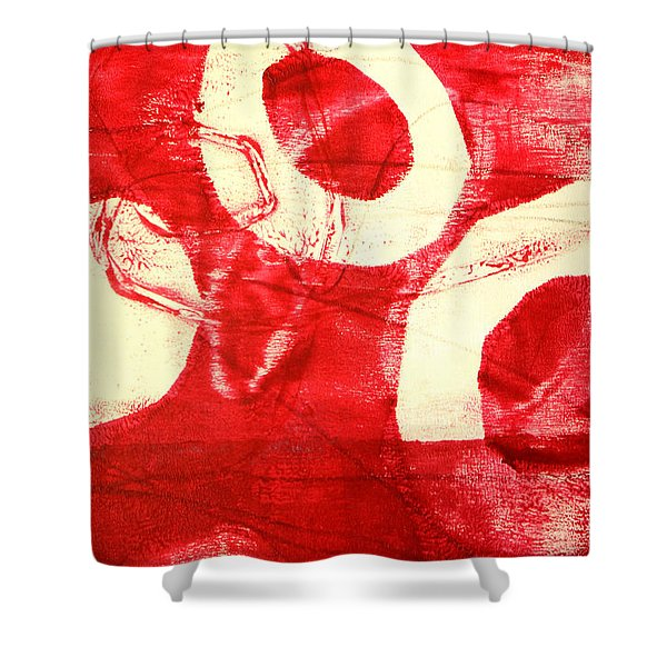 Red Circles Abstract Shower Curtain