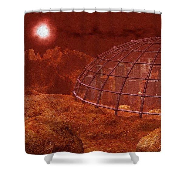 Red City Shower Curtain by Anastasiya Malakhova