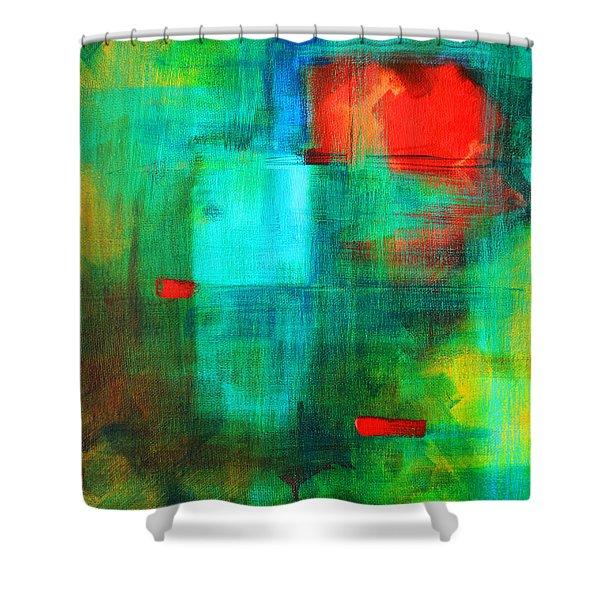 Red Dash Shower Curtain