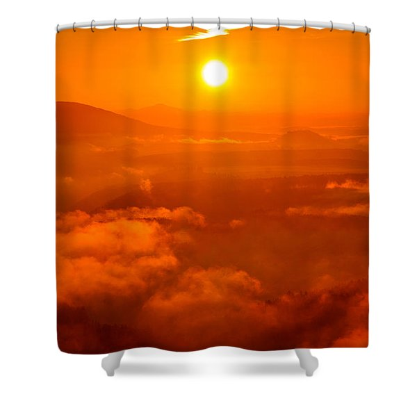 Red Dawn On The Lilienstein Shower Curtain