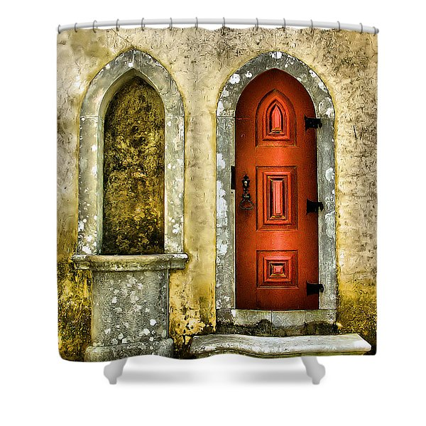 Red Door Of The Medieval Castle Of Sintra Shower Curtain
