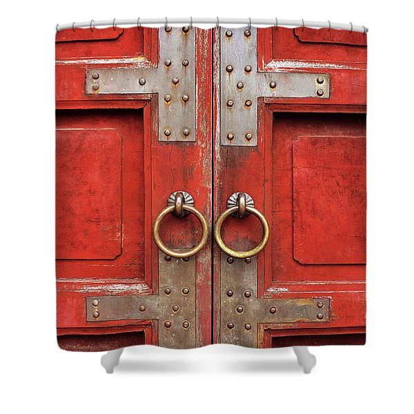 Red Doors 01 Shower Curtain
