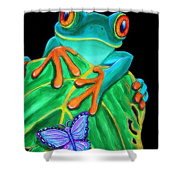 Red-eyed Tree Frog And Butterfly Shower Curtain