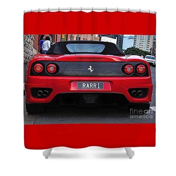 Red Ferrari - Rear View 2 Shower Curtain