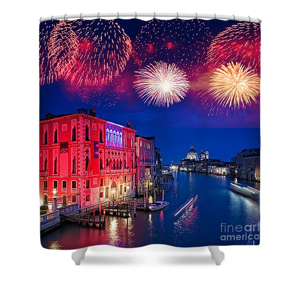 Red Fireworks In Venice Shower Curtain