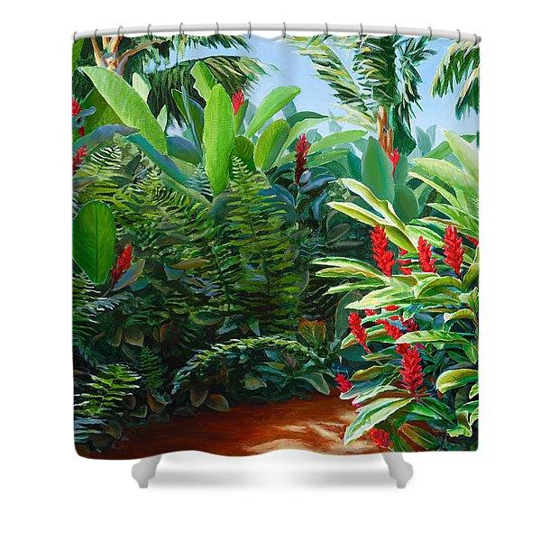 Tropical Jungle Landscape - Red Garden Hawaiian Torch Ginger Wall Art Shower Curtain
