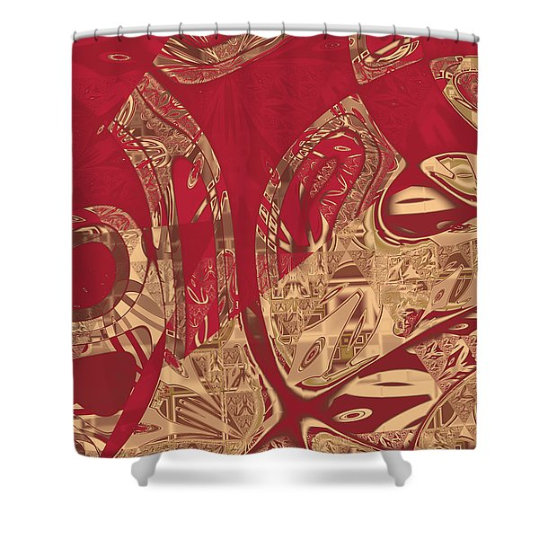 Red Geranium Abstract Shower Curtain
