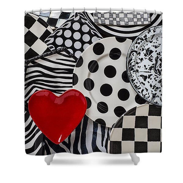 Red Heart Plate On Black And White Plates Shower Curtain