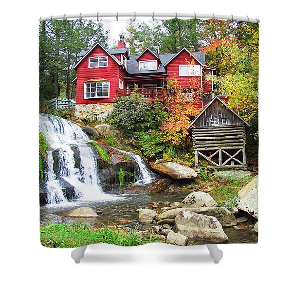 Red House By The Waterfall Shower Curtain