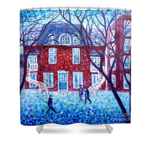 Red House In Montreal - Cityscape Shower Curtain