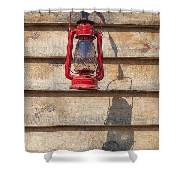 Shower Curtain featuring the photograph Red Kerosene Lantern by Bryan Mullennix