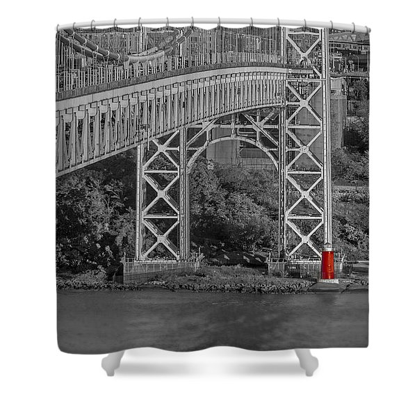 Red Lighthouse And Great Gray Bridge Bw Shower Curtain