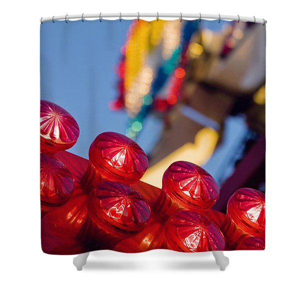 Red Lights At The County Fair Shower Curtain