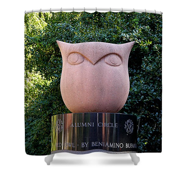 Red Owl At Temple Shower Curtain