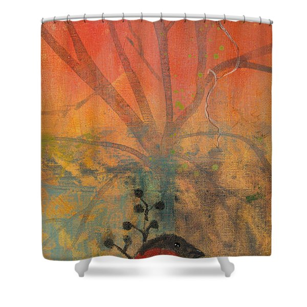 Red Peace Bird Shower Curtain