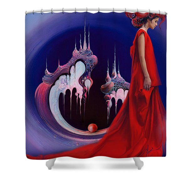 Red Pearl Castle Shower Curtain