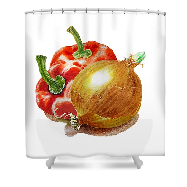 Red Peppers And Onion Shower Curtain