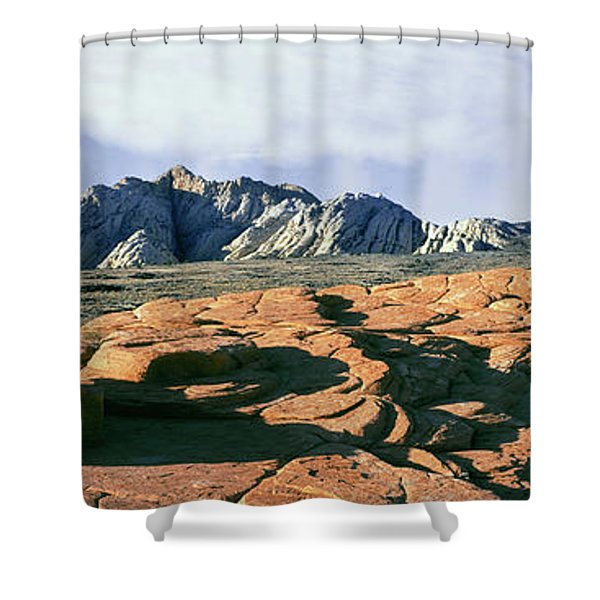 Red Petrified Sand Dunes White Navajo Shower Curtain