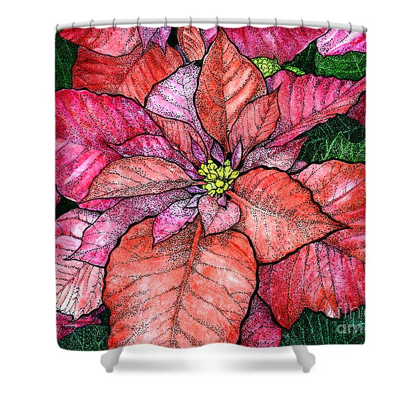 Red Poinsettias II Shower Curtain